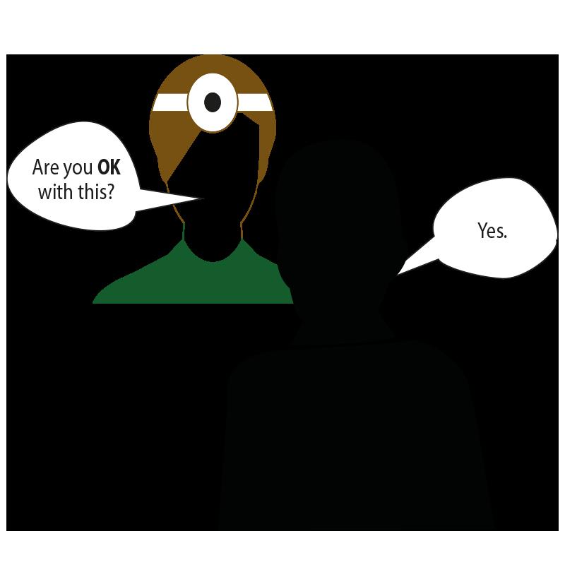 Ein schematisch dargestelltes Arztgespräch